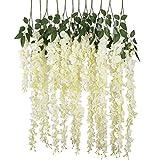 Labellevie 12 Stämme Künstlicher 110 cm Deko Hochzeiten Heim Dekoartikel Blauregen Seidenblumen