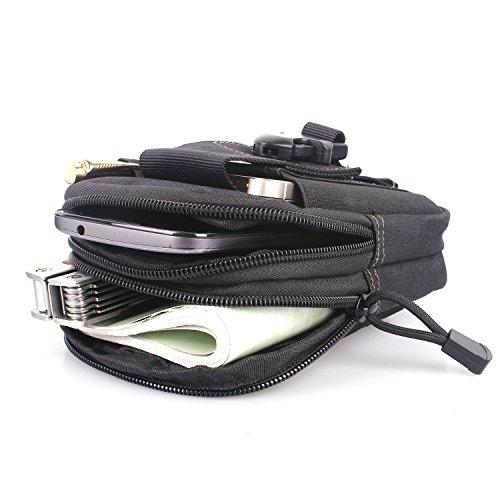 Erasky® Erasky Taktische Hüfttaschen Gürteltasche MOLLE EDC für Outdoorsport Multifunktionen Praktische Ausrüstung (Schwarz) Schwarz