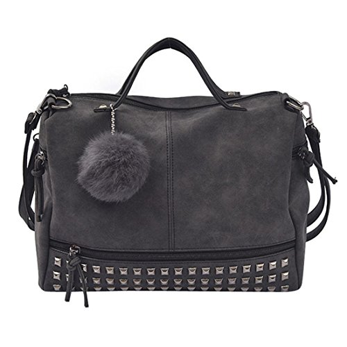 uely Mädchen Schulter Messenger Taschen Vintage Groß Tasche Damen Leder Umhängetasche (Schwarz) ()