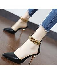 Xue Qiqi Satin pointe épaisse avec les chaussures à talons hauts bouche peu profondes attaches à créneaux avec les femmes et les chaussures unique,37, noir
