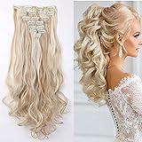 set da 8 pezzi di extensions per capelli a clip, 60cm, per tutta la testa, rinfoltimento dei capelli (effetto ondulato, biondo cenere/platino)