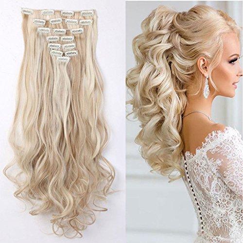 S-noilite, set da 8 pezzi di extensions per capelli a clip, 60cm, per tutta la testa, rinfoltimento dei capelli (effetto ondulato, biondo cenere/platino)