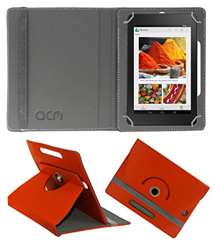 Acm Rotating 360° Leather Flip Case for Dell Venue Cellular 7 Cover Stand Orange  available at amazon for Rs.149