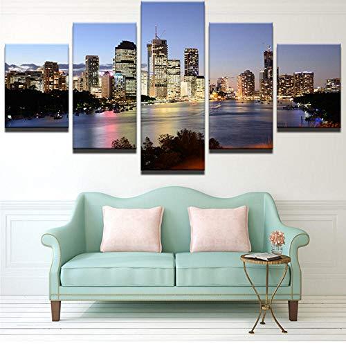 XIAOXINZ Dekorativer Jugendstil, der 5 Platten-australische Stadt an den Nachtlandschaftswänden für Wohnzimmer Cuadros-Bild-Plakat Malt