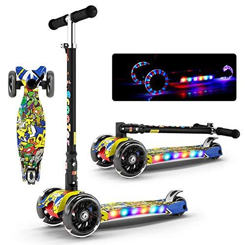 Joy Roller Für Kinder 3-Rad T-Bar Höhenverstellbarer Handgriff Tretroller Mit Max Glider Deluxe PU Blinkräder Breites Deck