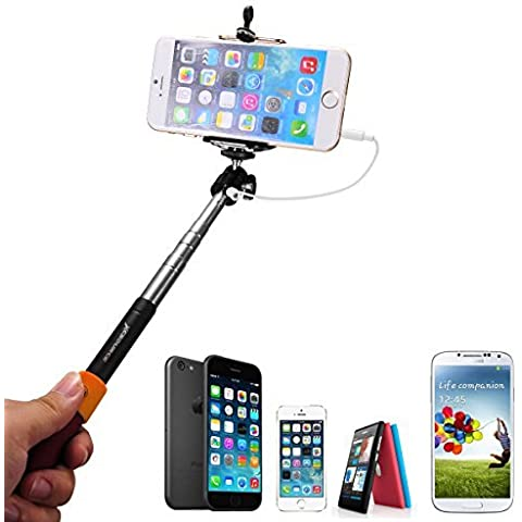 Rosso Selfie Monopiede telescopico con shutter remote button + Phone Clip Support Per Apple iPhone 6 Plus/6/5/5C/5S/4S/4, Samsung Galaxy Note 4/3/2, S5/4/3, Blackberry, HTC, Sony, LG XC204