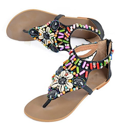 NiSeng Donna Boemia Sandali Vintage Perline Strass Flip Flop Infradito Piatto Sandali Nero