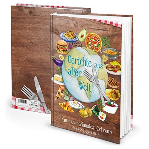 propia libro de recetas DIN A4encuadernado Platos de todo el mundo Libro de Recetas Para Escribir–Libro de cocina Internacional libro vacío con contenido directorio