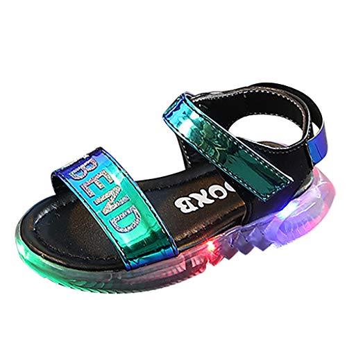 YpingLonk ❣ Kinder Mädchen helle Leder mehrfarbige LED leuchtende Sportschuhe Fingerlose Sandalen Brief führte Licht Laufsport Sandalen Turnschuhe Schuhe -