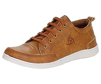 Kraasa Men's Tan Synthetic Leather Sneakers- 6