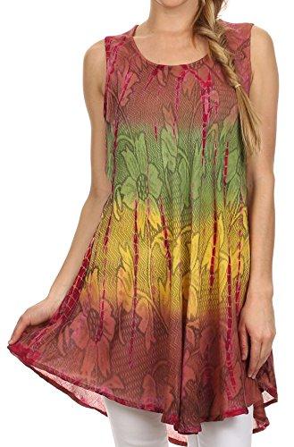 Sakkas 40831 Ombre Floral Tie Dye Flared Hem ÄrmellosRayon Tunika Bluse - Braun - One Size - Tie-dye-tunika