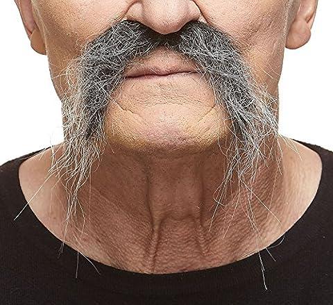 Moustache Fu Manchu réaliste poivre et sel