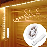 LUXJET® Motion Sensor Wardrobe light,Flexible 1M LED Strip,Battery Powered Warmwhite for Wall Closet Cabinet, Stairs, Drawer, Wardrobe