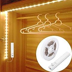 Idea Regalo - 1M 30LED Luce LED da guardaroba con sensore di movimento,Striscia LED sensore di movimento,LUXJET sensori di movimento Luce notturna a LED,3000k bianco caldo per armadi, armadietti,corridoi, camere da letto [Classe di efficienza energetica A +]