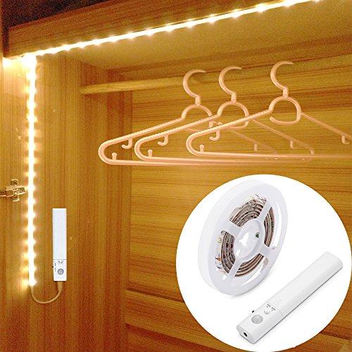 LUXJET® 30LED 1M tira luz cuerda,Luz Armario Luz LED Nocturna con Sensor de Movimiento para Pasillo Baño Armario Cocina(funciona con 4 pilas AAA, No Incluidas)