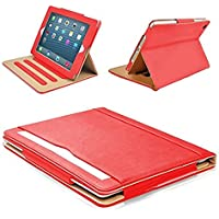 "MOFRED® Red & Tan Apple iPad 9.7"" (Launched 2017) Leather Case-MOFRED®- Executive Multi Function Leather Standby Case for Apple New iPad 9.7"" (2017) with Built-in magnet for Sleep & Awake Feature -- Independently Voted by ""The Daily Telegraph"" as #1 iPad Case! (Red & Tan)"