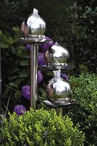 Deko-Brunnen, aus Edelstahl und Polyresin, 5 m Zuleitung, Größe ca. 47 x 47 x 109,5 cm
