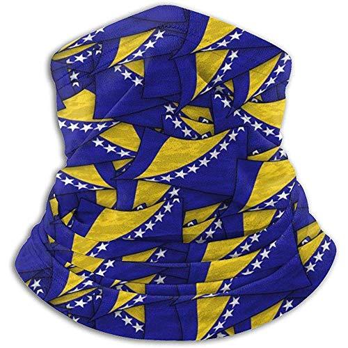 Bklzzjc Bosnien und Herzegowina Flag Wave Collage Fleece Nackenwärmer - Wendehals Gamasche Rohr, Vielseitigkeit Ohrwärmer Stirnband & Maske