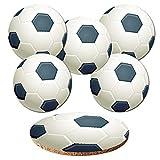 Addies Glas-Untersetzer 6-tlg. Set 'Fussball' in hochwertiger Klarsicht-Geschenkbox und Korkrückseite, rund, 6 schöne Motive von Sportbällen hochwertig bedruckt