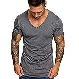 Luckycat Classics Herren Freizeit T-Shirt Tall Tee lang geschnittenes Shirt Männer bis Größe Originals Herren T-Shirt Kurzarm Shirt Mit Einfarbig Herren T-Shirt Basic V-Ausschnitt Einfarbig Slim Fit