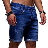 Ombre-Eight Herren Jeans Shorts Bermuda Chino Kurze Hose J-108 [Dunkelblau, W30]