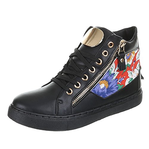 Ital-Design, FC15R05, de loisirs chaussures High Top Sneakers Noir - Noir