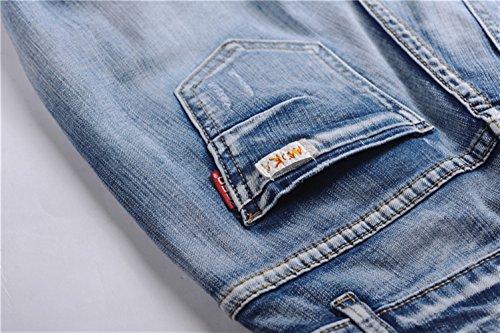 Insun Damen Jeans Quaste Hose Risse am Knie Jeanshose Hose Hellblau