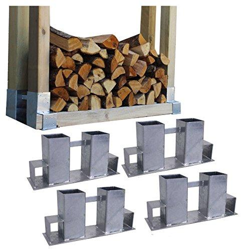 *4x Holzstapelhilfe Feuerverzinkt Stapelhilfe Holzstapelhalter Brennholz Kaminholz Gestell Holz*