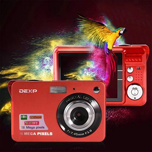 Dkings Digitalkamera-Camcorder 18MP Full HD WiFi-Kamera 2.7HD-Bildschirm Digitalkamera 18MP Anti-Shake-Camcorder mit Gesichtserkennung Schwarzweiß (Red)