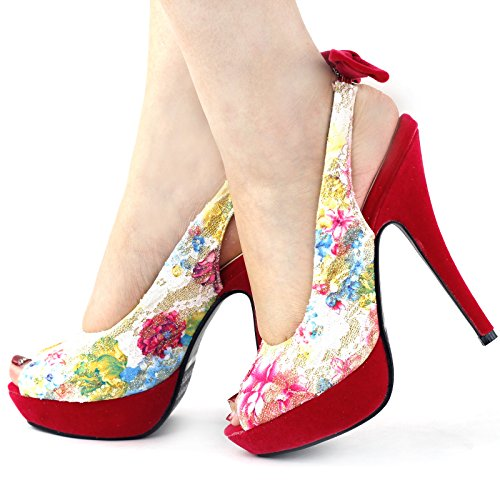 Show Story Womens Sexy Bow Peep Toe Sling Plattform-Stilett-Schuhe,LF30467 Hot Pink
