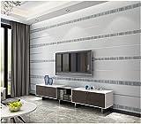 Yosot 3D-Horizontale Streifen Wohnzimmer Schlafzimmer Tapete Einfache Tv Hintergrund Restaurant Vliestapeten Silber Grau