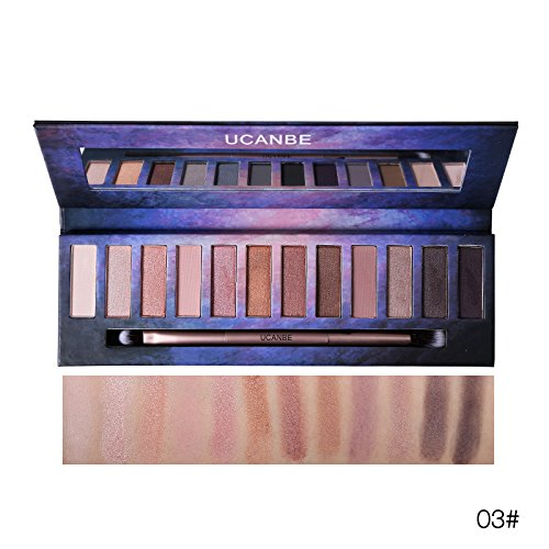 Ucanbe Smokey Shadows 12 colour Pigment Eyeshadow Palette Matte Shimmer Natural Nude grey brown red and pink with Brush