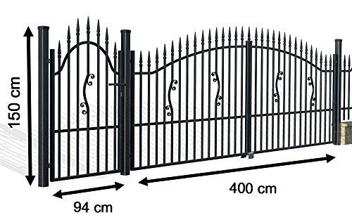 """Luxus4Home """" Toronto """" 5,20m """" Doppelflügeltor Set Durchfahrt 4m inkl. Pforte 0,94m, Komplett-Set inkl. 2 Torflügel, 3 Pfosten, 1 Pforte mit Beschlag, Anschlag und Schloß"""