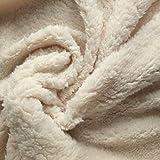 De Luxe En Polaire Sherpa en tissu Crème Uni–Texture douce, confortable–Idéal pour les couvertures et Parure de lit