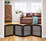 #5: Spirich Home Wooden Freestanding Foldable Pet Gate for Dogs, 24 inch 4 panel step over fence, Dog Gate for the House, Doorway, Stairs,Extra Wide, Espresso