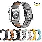 Chok Idee Leder Armband Riemen Für Apple Watch, echt Leder iWatch Ersatz Armband mit sicheren Metall Schnalle für Apple Watch Serie 3Serie 2Serie 1Sport und Edition, 7Farben, Elegant Gray