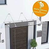Schulte Vordach 200x90 cm Glas Haustür Überdachung Echtglas Klar VSG Edelstahl rostfrei Glasvordach mit Punkthalterung Davita