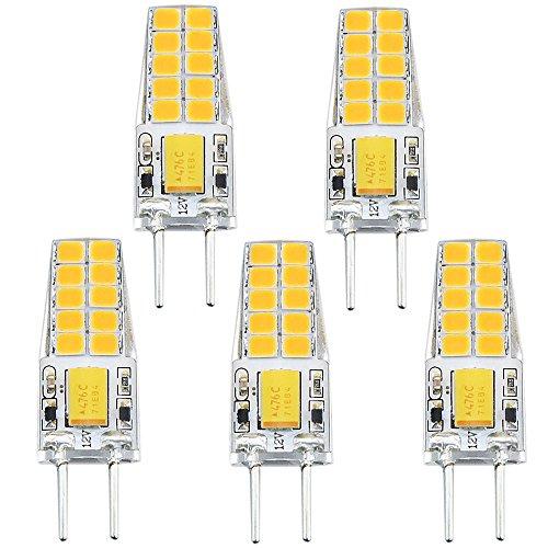 Bonlux 3W G6.35 LED Birne Bi-Pin Warmweiß 3000K AC/DC 12V 2-Stifte Glühlampe für Schreibtischlampe, Landschaftsbeleuchtung, Dekoration (5-Stück) -
