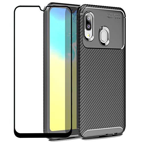 Wanxideng - Cover per Samsung Galaxy A20e + Pellicola Protettiva in Vetro Temperato, [Texture in Fibra di Carbonio] Custodia Robusta per Armature Cover in Silicone Morbido e Sottile - Nero