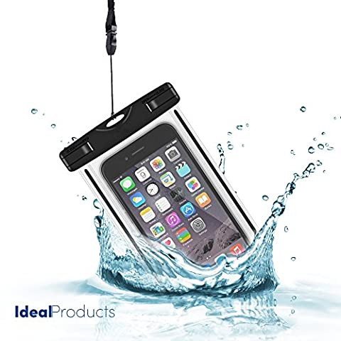 Ideal Products 100% waterproof submersible mobile cover with airtight seal, fastening strap, impact-proof side backing, windows in both sides to take underwater photos, diving, sailing, skiing, etc. Universal fit for all kind of smartphones and mobiles, Apple iPhone 6 plus, 6s, etc. Samsung, Sony Xperia, Motorola, Blackberry, LG phones, Huawei, HTC, etc. IPX8 watertight diving certificate (20 meters deep).