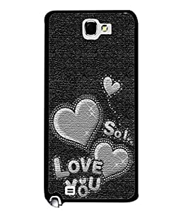 PrintVisa Designer Back Case Cover for Samsung Galaxy Note 2 :: Samsung Galaxy Note Ii N7100 (Love Heart Romantic Black&White Texture)