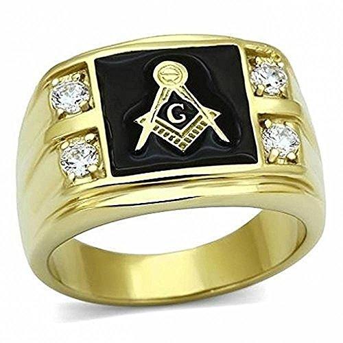 ISADY - Anton - Herren-Ring - 585er 14K Gold platiert - Franc-maçonnerie - Freimaurer - Tempelritter - Zirkonium und onyx schwarz - T 70 (22.3) - Diamant Freimaurer Ringe