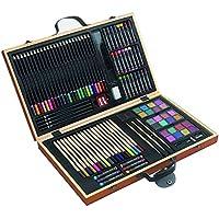 Malkasten 88 teilig Wasser Farbkasten Buntstifte Wachsmalstifte Pinsel Holz Koffer