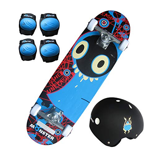 Charles Bentley Kids Monster Skateboard Set - Board Knee Elbow Pads Helmet with Quick Release Strap Free Backpack - 28