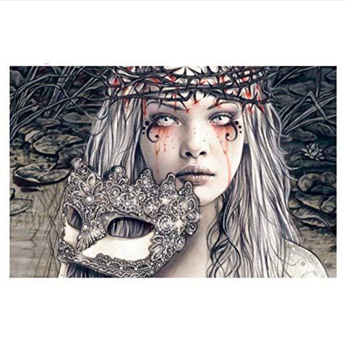mzcyl Malerei Diamant Gothic Blood Girl Mit Maske DIY Craft Voller Platz Bohrer Malerei Horror Victoria Frances 40x50cm (Horror Charakter Kit)