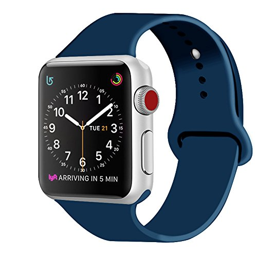 ZRO für Apple Watch Armband, Soft Silikon Ersatz Uhrenarmbänder für 42mm iWatch Serie 3/ Serie 2/ Serie 1, Größe M/L, Ozean-Blau