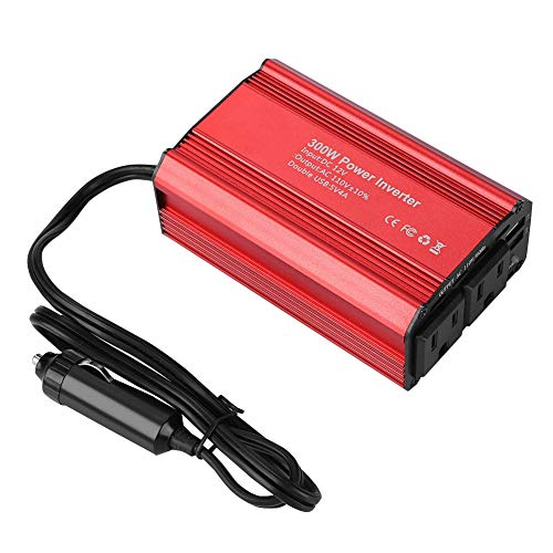 Inverseur de puissance de voiture, onduleur de puissance 300W CC 12V à 110V inverseur de voiture CA avec adaptateur de voiture double USB 4.2A