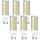 DASKOO 6-er Pack Flimmerfrei G9 12W = 95W LED Licht Keramik + PC Kaltweiß 76X2835 SMD AC 220-240V