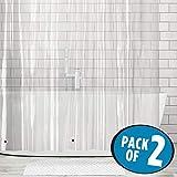 mDesign 2er-Set Duschvorhang Anti-Schimmel (extra lang) - Dusch- & Badewannenvorhang - Duschvorhang wasserabweisend aus Vinyl - mit 12 Metallösen verstärkt - 182,9 cm x 243,8 cm - transparent Test