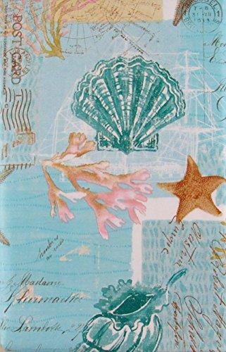 Elrene Muscheln, Seestern und Koralle auf Nautisches Diagramme und Post Karten Vinyl Tischdecke Flanell Rückseite 60